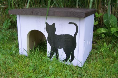 Kleintierhaus, Nagerhaus Meerschweinchenhaus fliederfarben Motiv schwarze Katze