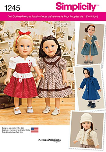 Simplicity Creative Patterns 1245 Vintage Style 18-Inch Doll Clothes, Size: Os One Size