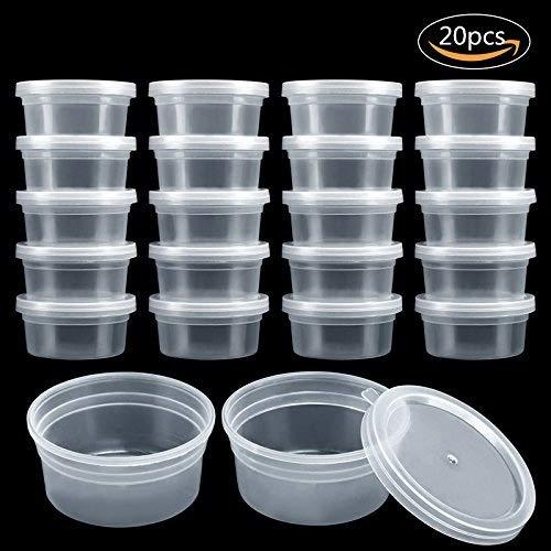 GWHOLE 20 pezzi Slime Contenitore, Contenitori Schiuma palla di Plastica con Coperchi