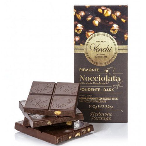 Venchi Italian Chocolate - Venchi 56% Dark Chocolate Bar with Hazelnuts - 100g (100 gram)