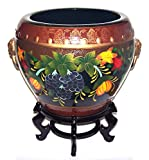 "ADI #FB16D-G Pretty Oriental Painting of Colorful Grapes, Pumpkin and Flowers with Burgundy Background Designs 16"" Diameter Porcelain Fishbowl/Planter plus 6"" Tall Plant Stand"