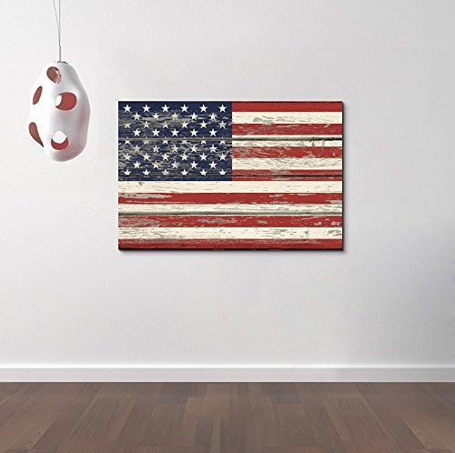 USA Flag on Vintage Wood Background Wall Decor