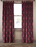 North End Decor Red Damask Classic Formal Velvet Tab Top Curtain Panels 54″ x 84″ (Set of 2)