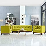 Modern Contemporary Urban Design Living Lounge Room Sofa Set ( Set of Three), Green, Fabric