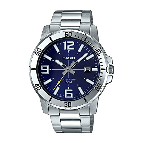 Analog Dial Watch - Casio MTP-VD01D-2BV Men's Enticer Stainless Steel Blue Dial Casual Analog Sporty Watch