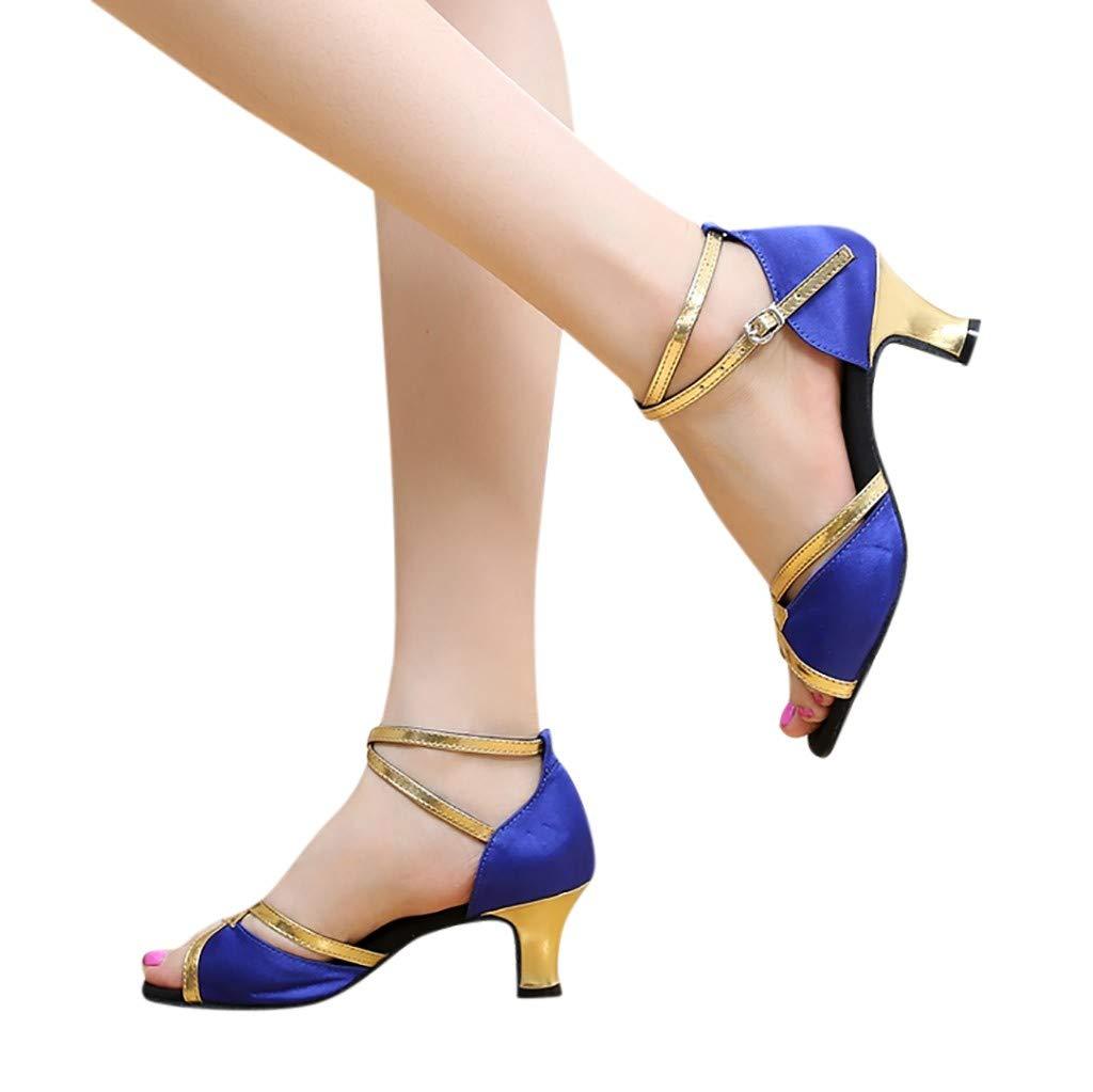 Confortable Chaussures De Salsa Tango Valse PANPANY ❤Femmes Chaussures De Danse Latine /à Talon Chaussures /à Bout Ouvert Salle De Bal Semelle en Daim