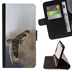 BullDog Case - FOR/HTC One M8 / - / owl feathers field flying wings winter /- Monedero de cuero de la PU Llevar cubierta de la caja con el ID Credit Card Slots Flip funda de cuer