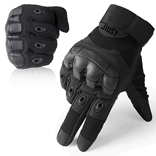 JIUSY Touch Screen Military Rubber Hard Knuckle Tactical Gloves Full Finger Airsoft Paintball Outdoor Army Gear Sports Cycling Motorcycle Riding Shooting Hunting Size X-Large Black