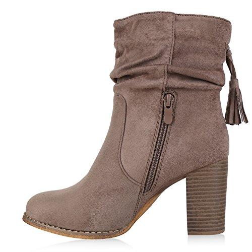 Stiefelparadies Klassische Damen Stiefeletten High Heels Stilettos Schleifen Flandell Khaki Fransen