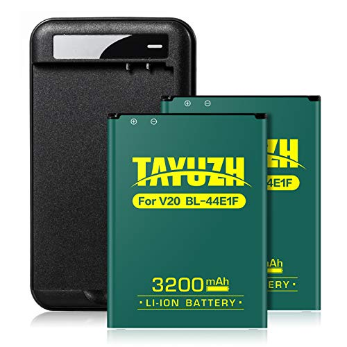 TAYUZH LG V20 Battery | 2X 3200mAh Replacement Li-ion Battery with Wall Charger for LG V20 BL-44E1F H910 H918 LS997 US996 VS995 | V20 Spare Battery - 24 Month Warranty (Best Charger For Lg V20)