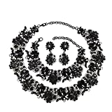 Holylove Black Retro Style Statement Necklace Bracelet Earrings for Women Novelty Jewelry Set 1 with Gift Box-8041BBlack 3PCS
