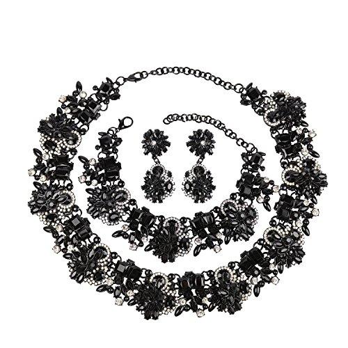 Black Wedding Jewelry - Holylove Black Retro Style Statement Necklace Bracelet Earrings for Women Novelty Jewelry Set 1 with Gift Box-8041BBlack 3PCS