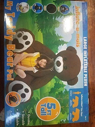 inflate-a-mals Soft and Cuddly Inflatable Large Stuffed Bear, Brown, 5-Foot ()