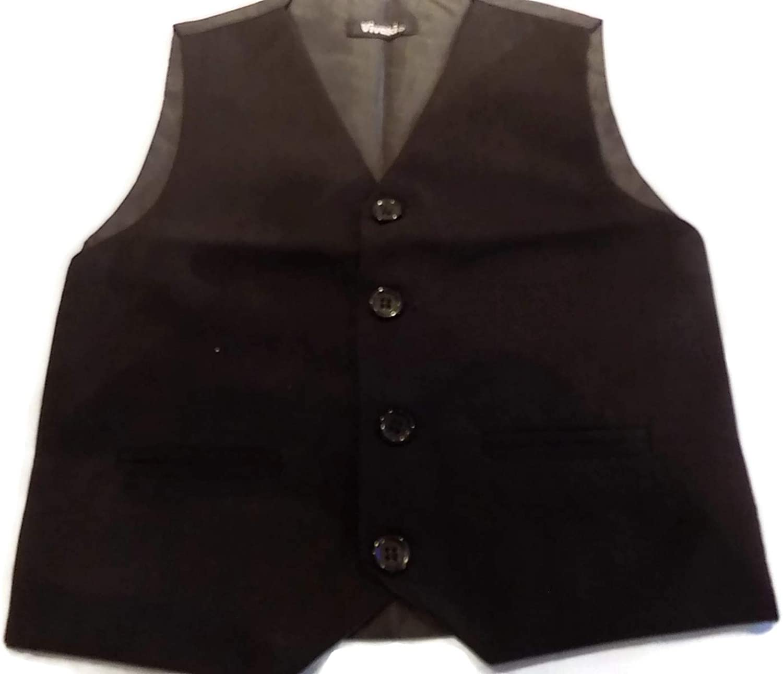 Plain Black 4 Button Waist Coat and Pockets Various Sizes