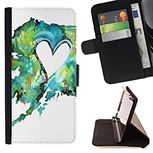 For LG G3 Painting Watercolor Teal Green Love Beautiful Print Wallet Leather Case Cover With Credit Card Slots And Stand Function