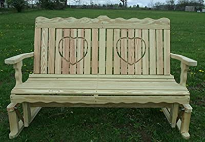 4 Ft Pressure Treated Pine Designs Unfinished Heart Cutout Outdoor Glider Bench
