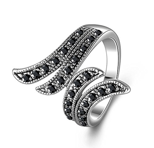 - Yfnfxl Womens Vintage Black Crystal Marcasite Unique Leaf Wide Statement Rings