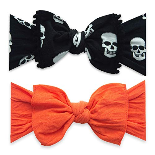 Halloween Headbands For Infants (Baby Bling Bows 2 Pack - Girls Trimmed Classic Knot Headbands Skelly and)