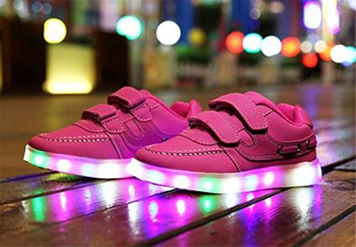 (Present:kleines Handtuch)JUNGLEST® Unisex Junge Mädchen Colorful Farbe LED Leuchtend Aufladen USB Kinderschuhe Paare Schuhe Herbst und Winter Sport schuhe Frei Rosa
