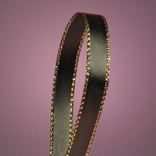 Black Satin Ribbon with Gold Edges, 3/8