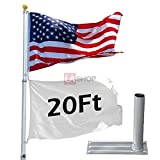 5-section 20 ft. Aluminum Telescoping Flag Pole Flagpole 16 Gauge w/ Tire Mount Wheel Stand Kit & US Flag & Gold Ball Finial