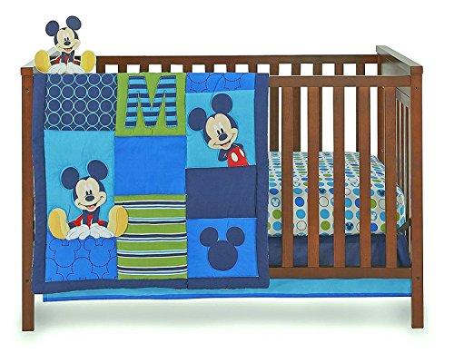 Disney Baby Infant Boy's 4-Piece Mickey Mouse Crib Bedding Set ()