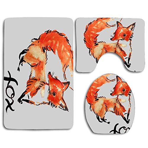 - huachuangxinlHUQ Simple Hand-Painted Orange Fox White Soft Comfort mat Anti-Skid Absorbent Toilet Seat Cover Bath Mat Lid Cover 3pcs/Set Rugs