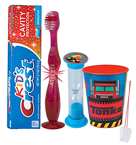 tonka-truck-inspired-4pc-bright-smile-oral-hygiene-set-flashing-lights-toothbrush-toothpaste-brushin