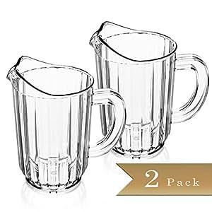 Set of 2 - Clear SAN Plastic Restaurant Beverage Pitchers - 32 Oz.