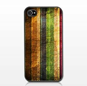 Vintage Color Stripe Anti-Slip Matte Hard Case with PU Leather for iPhone 4/4S