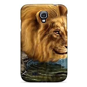 Fashion PYN692uXja Case Cover For Galaxy S4(thirsty Lion)