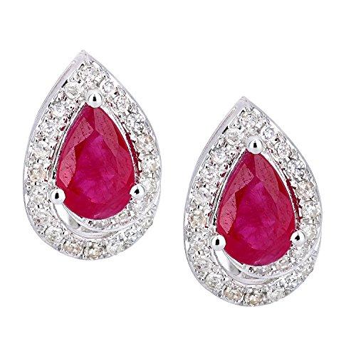 Revoni Bague en or blanc 9carats-Diamant et Rubis Boucles d'oreilles clous en forme