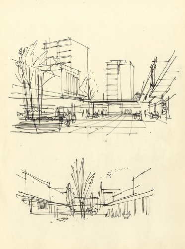 Paul Sharp - Mid 20th Century Pen and Ink Drawing, Urban