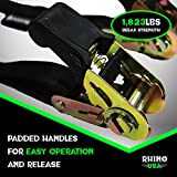 """RHINO USA Ratchet Straps Tie Down Kit - 1,823lb Guarantee Max Break Strength, Includes (12) Premium 1"""" x 15' Rachet Tie-Downs with Padded Handles. Best for Moving, Securing Motorcycle, and Equipment"""
