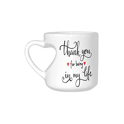 Liveupon White Ceramic Romantic Thank You For Being In My Life Heart Shaped Coffee