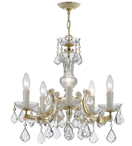 - Chandeliers 5 Light with Gold Clear Swarovski Strass Crystal Wrought Iron 20 in