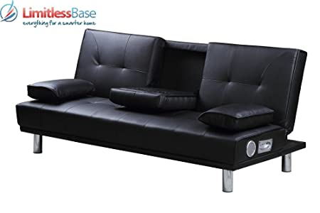 Modern Designer 3 Seater Faux Leather Sofa Bed Built In Bluetooth Speakers  In 4 Colours (