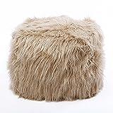 Best Home Fashion Taupe Faux Fur Tibetan Lamb Pouf 18''x18''x18''