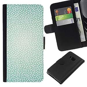 HTC One M7 Modelo colorido cuero carpeta tirón caso cubierta piel Holster Funda protección - White Teal Spots Bright Summer Sun Warm