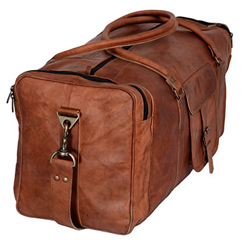 437e0262e7 Komal s Passion Leather 24 Inch Square Duffel Travel Gym Sports Overnight  Weekend Leather Bag