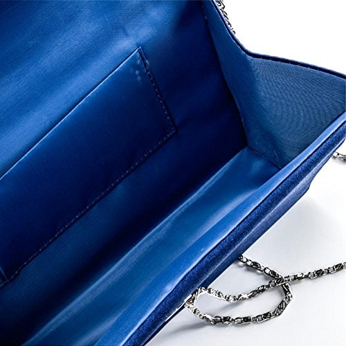 Bag Blue Bag Wedding Women's Party with Detachable Clutch for Envelope Decorated Rhinestone Evening Satin Royal iShine Chain qg8taxUt
