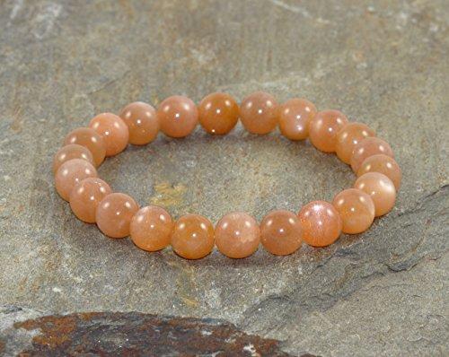 8mm Peach Moonstone Bracelet, AAA Grade, Peach Moonstone Jewelry, Positive Energy, Creativity, Adventure, Sexuality, Chakra & Meditation Bracelet, Happiness ()