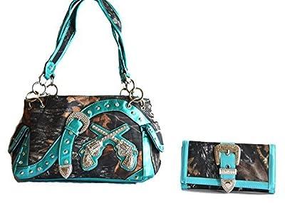 camo mossy oak buckle gun rhinestone blue pink brown purse set