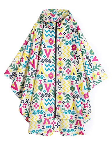 LOHASCASA Women's and Big Gril's Waterproof Raincoat Lightweight Packable Rain Coat Poncho Hooded Colorful