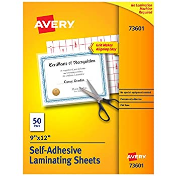 Image of Card & Photo Sleeves Avery Self-Adhesive Laminating Sheets, 9' x 12', Box of 50, Case Pack of 10 (73601)