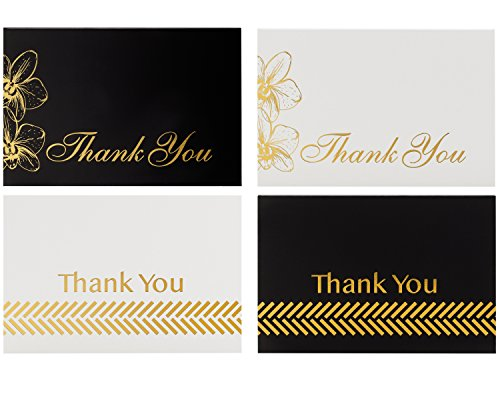 Thank You Cards Bulk Set - 100 4x6 Thank You Notes, Envelopes & Stickers, 4 Gorgeous Designs (25 of each) Black & Gold, White & Gold, Great For Any Occasion, Wedding, Bridal & Baby Shower Graduation by Rosy Greetings