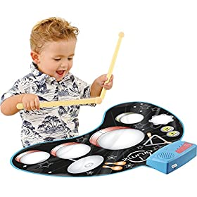 Click N Play Kids Electronic Touch Sensitive Play Mat Drum Set With Real Drum Sounds 5