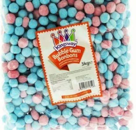 Kingsway Wholesale Discount Sweets – Bubble Gum Bonbons – Kids Party Bag 3kg