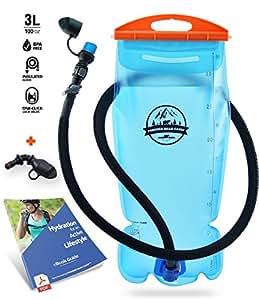 PIONEER BEAR CAMP Hydration Bladder 3 Liter Water Reservoir Leak Proof Hydration Pack BPA (Blue Upgraded)
