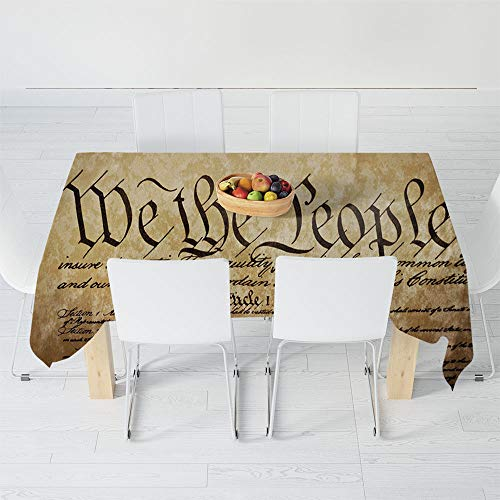 Dust-Proof Tablecloth,United States,for Kitchen Dinning Tabletop Decoration,60.2 X 40.2 Inch,Vintage Constitution Text of America National Glory
